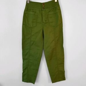 Anthropologie Army Green Chino Casual Relaxed Tapered Trousers Crop 0